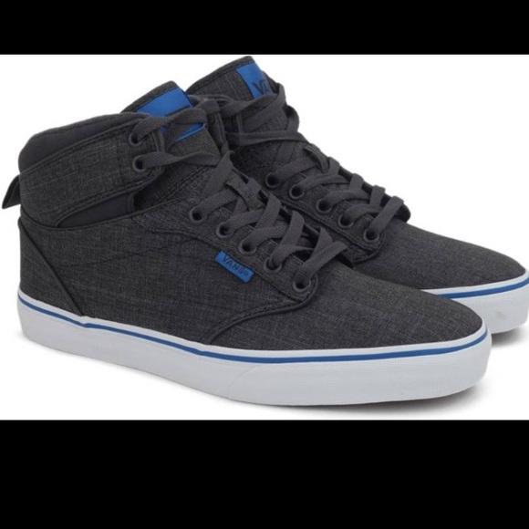 bf61d3a63a Vans kids Atwood Hi Textile Grey blue shoes NIB